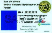 Sample of a California Medical Marijuana Card.