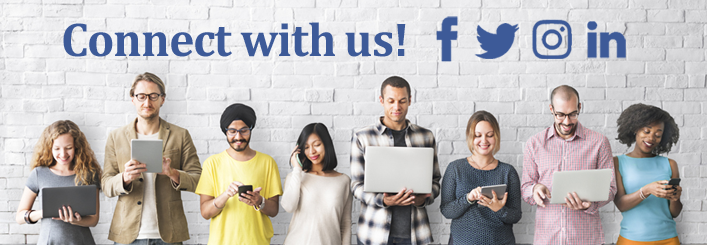 Four women and four men look at various electronic devices. Connect With Us! Facebook logo. Twitter logo. Instagram logo. LinkedIn logo.