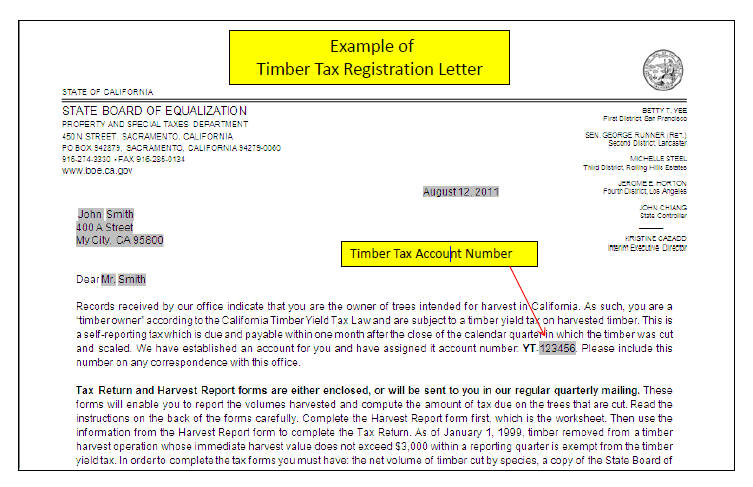 Example of Timber Tax Registration Letter with Timber Tax Account Number.